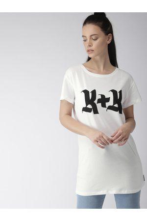 Forever 21 Women White & Black Printed Round Neck Longline T-shirt