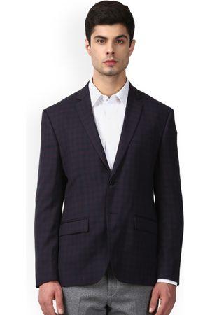 Park Avenue Men Blue Checked Slim Fit Single-Breasted Blazer