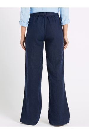 Marks & Spencer Women Navy Blue Regular Fit Solid Trousers