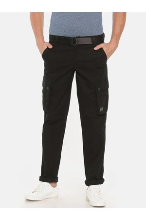 T-BASE Men Black Slim Fit Solid Cargos