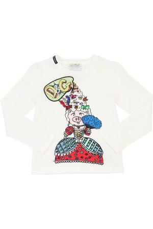 Dolce & Gabbana Girls Long Sleeve - Pig Print Cotton Jersey T-shirt