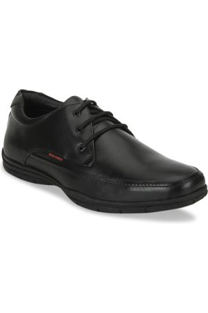 Red Chief Black Leather Formal Derby Shoes for Men