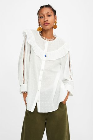Zara Women Shirts - Dotted mesh blouse