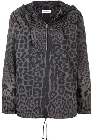 Saint Laurent Leopard print hooded bomber