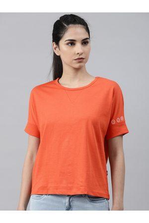 HRX by Hrithik Roshan Women Orange Solid Round Neck T-shirt