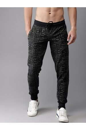 HERE&NOW Men Grey & Black Printed Joggers