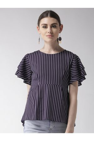 Style Quotient Women Navy Blue & White Striped A-Line Top