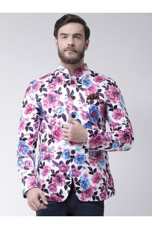 Hangup Men Multicoloured Printed Regular Fit Single-Breasted Blazer