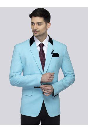 FAVOROSKI Men Blue Solid Slim-Fit Single-Breasted Blazer