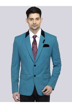 FAVOROSKI Men Teal Blue Solid Slim-Fit Single-Breasted Blazer
