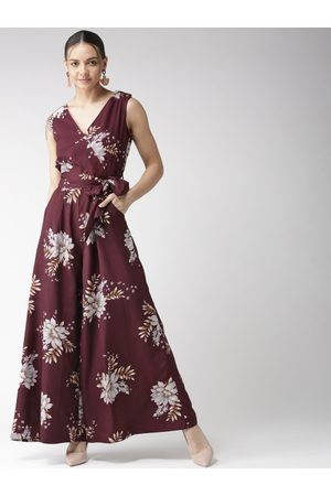 Quiero Women Wine-Coloured & Grey Floral Printed Flared Jumpsuit