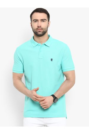 Red Tape Men Turquoise Blue Solid Polo Collar T-shirt