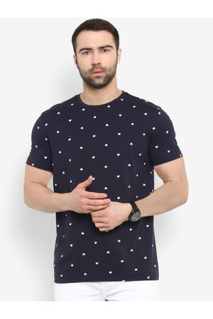 Red Tape Men Navy Blue Printed Round Neck T-shirt