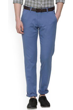 Van Heusen Men Blue Slim Fit Solid Regular Trousers