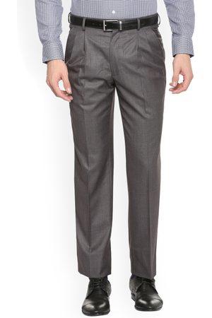 Louis Philippe Men Grey Regular Fit Self Design Formal Trousers