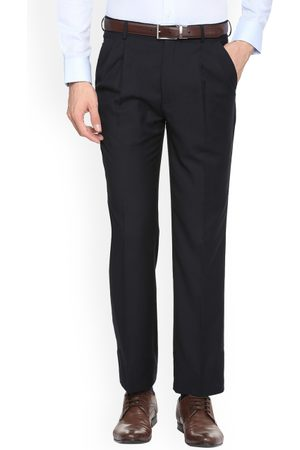 Louis Philippe Men Blue Regular Fit Solid Formal Trousers