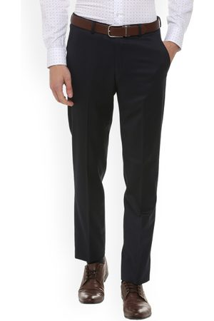Louis Philippe Men Navy Blue Slim Fit Solid Formal Trousers