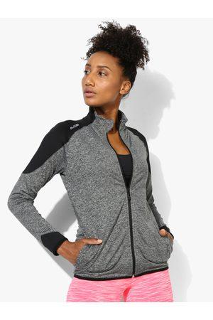 Alcis Women Grey Solid Track Jacket