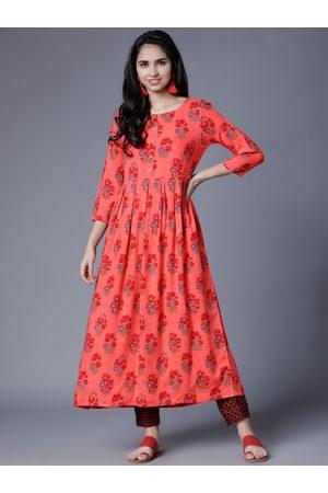 52ef7a2c3b2 Vishudh Women Pink   Red Printed A-Line Kurta