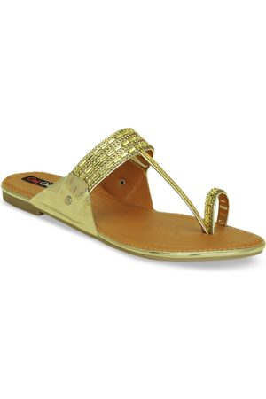 Get Glamr Women Gold-Toned Embellished One Toe Flats