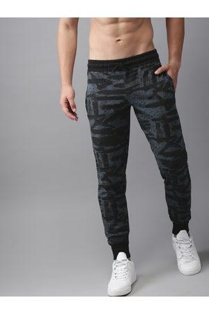 HERE&NOW Men Grey & Black Printed Joggers