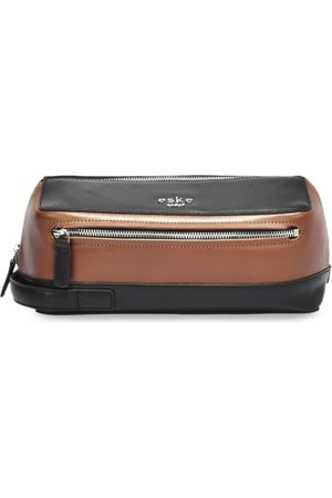 Eske Men Tan Brown & Black Colourblocked Leather Roark Travel Pouch