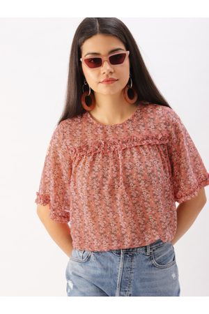 DressBerry Women Pink Printed High-Low Top