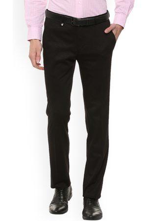 V Dot Men Black Skinny Fit Solid Regular Trousers