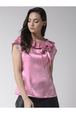 MISH Women Pink Solid Satin Finish Top