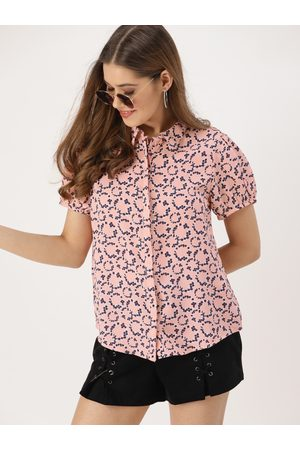 DressBerry Women -Coloured & Navy Blue Regular Fit Printed Casual Shirt
