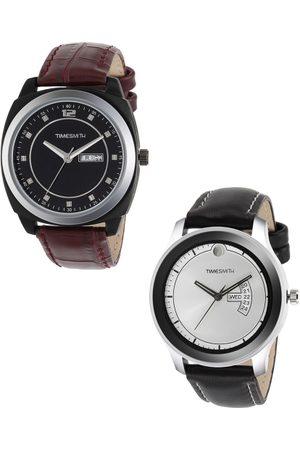 TIMESMITH Men Set of 2 Black & Silver Analogue Watches TSC-001-012