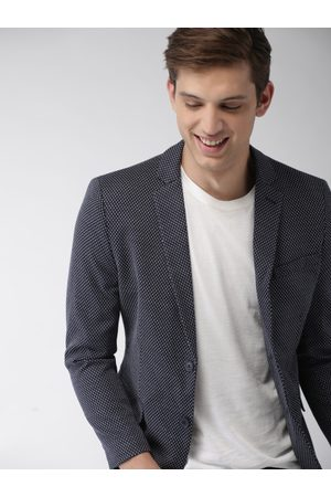 Mast & Harbour Men & White Self Design Regular Fit Single-Breasted Casual Blazer