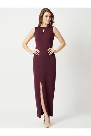 Miss Chase Women Maroon Solid Maxi Dress