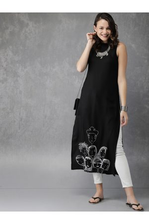 Anouk Women Black & White Printed Straight Kurta