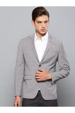 Louis Philippe Men & White Checked Slim Fit Single-Breasted Smart Casual Blazer