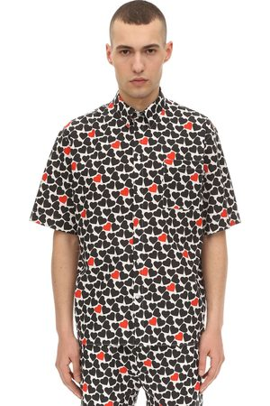 Msgm Heart Printed Cotton Poplin Shirt
