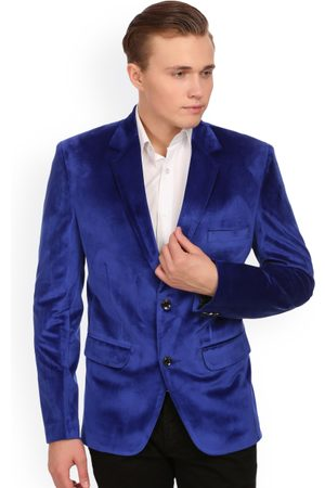 Wintage Men Single-Breasted Velvet Tailored Fit Party Blazer