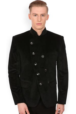 Wintage Men Double-Breasted Velvet Tailored Fit Ethnic Bandhgala Blazer