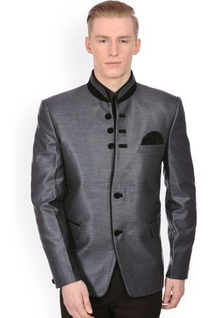 Wintage Men Grey Single-Breasted Tailored Fit Ethnic Bandhgala Blazer