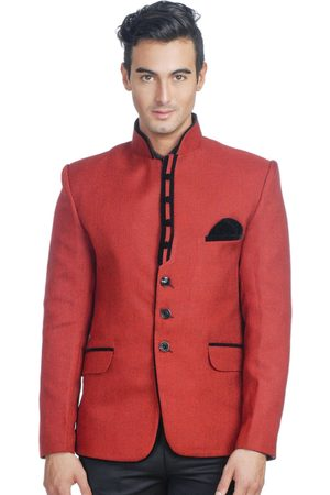 Wintage Men Red Single-Breasted Tailored Fit Ethnic Bandhgala Blazer