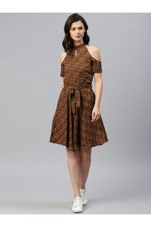 Tokyo Talkies Women Brown Printed Fit and Flare Dress