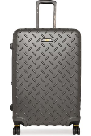 """Caterpillar Unisex Grey Textured Industrial Plate 28"""" Large Checkin Trolley Suitcase"""