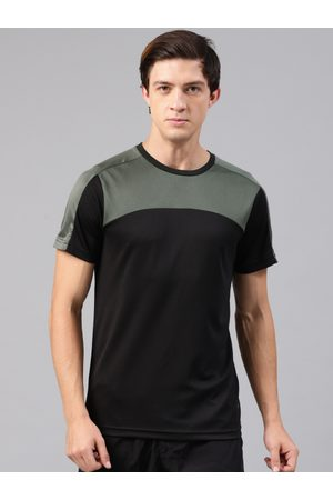 HRX HRX Active by Hrithik Roshan Men Black Solid Round Neck T-shirt