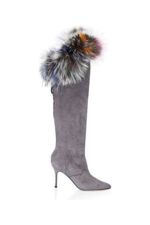 Manolo Blahnik Likanskim Fur-Trim Suede Knee-High Boots