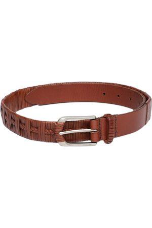 Louis Philippe Men Brown Textured Leather Belt