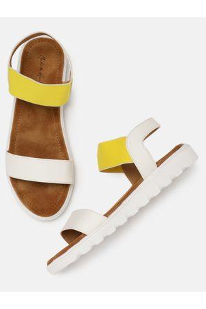Mast & Harbour Women & Yellow Comfort Colourblocked Open Toe Flats