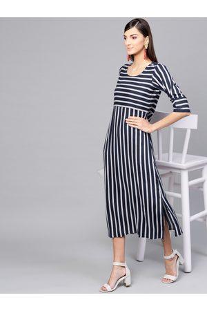 b608c065b27 GERUA Women   White Striped A-Line Dress
