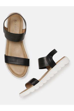 Mast & Harbour Women Comfort Solid Open Toe Flats