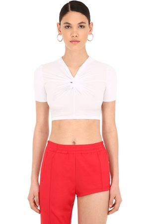 pushBUTTON Knotted Stretch Jersey Crop Top