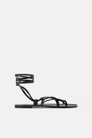 Zara Women Sandals - Flat leather sandals with criss-cross straps
